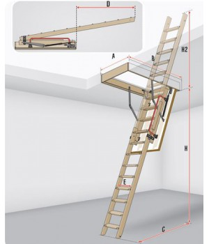 FAKRO LDK 335 60 x 120 cm LDS-11 výsuvné půdní schody