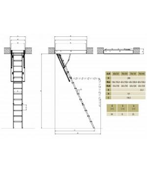 FAKRO LMK Komfort 305 70 x 140 kovové Půdní schody