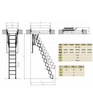 FAKRO LST 250-280 70 x 120 cm stahovací zateplené půdní schody