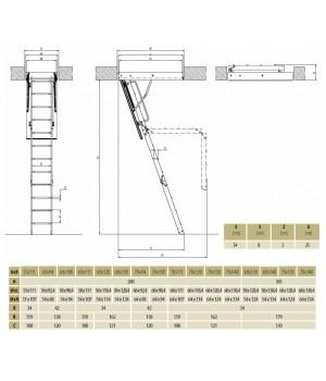 FAKRO LWK KOMFORT - 280 70 x 111 cm 3-dílné Půdní schody