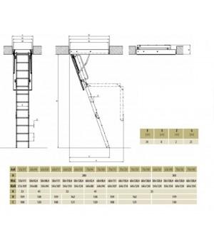 FAKRO LWS Plus 280 3-dílné 60 x 111 cm Zateplené půdní schody